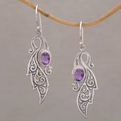 Amethyst dangle earrings, 'Magical Vines' - Vine-Like Sterling Silver Earrings with 2.5 Carats Amethysts