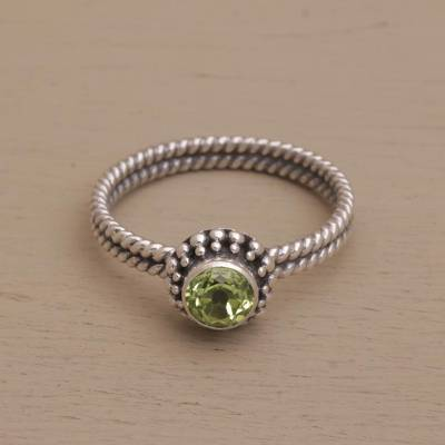 Peridot single stone ring, 'Touch of Simplicity' - Handmade Peridot and Sterling Silver Single Stone Ring