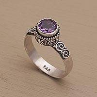 Amethyst single stone ring, 'Shadow Of The Crown' - Amethyst Single Stone Ring in Sterling Silver