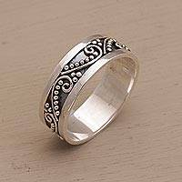Sterling silver band ring, 'Punctuation Marks' - Sterling Silver Band Ring with Dot and Wire Motifs