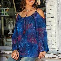 Batik rayon cold-shoulder tunic, 'Pacific Reef' - Cold Shoulder Rayon Batik Tunic in Blue and Red