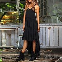 Hi-low rayon sundress, 'Black Beauty' - Racer-Back Long Rayon Hi-Low Sundress from Bali