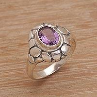 Amethyst cocktail ring, 'Pebbled Beach' - Amethyst Cocktail Ring with Pebbled Silver Setting
