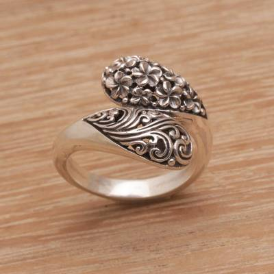 Sterling Silver Wrap Ring with Floral and Vine Motifs