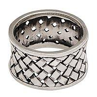 Sterling silver band ring, 'Bamboo Mat' - Wide Sterling Silver Band Ring with Woven Motif