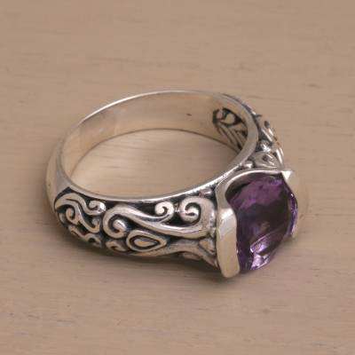 Two Carat Amethyst and Sterling Silver Ring