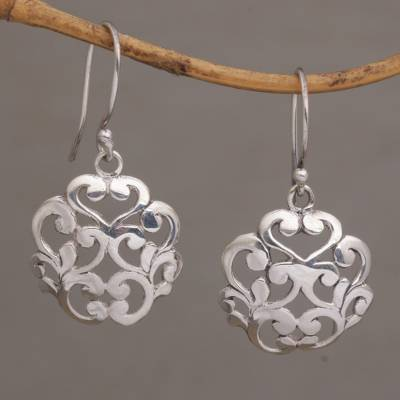 Sterling silver dangle earrings, 'Vine Crest' - Everyday Sterling Silver Dangle Earrings with Vine Motifs