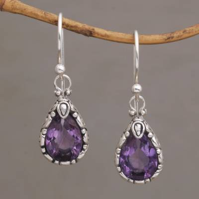 Amethyst dangle earrings, 'Dewdrops at Dawn' - Artisan Handcrafted Silver and Amethyst Earrings from Bali