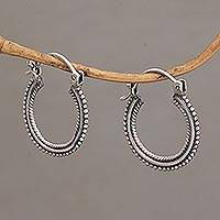 Sterling silver hoop earrings, 'On Rotation' (1 inch) - One Inch Diameter Sterling Silver Hoop Earrings
