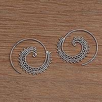 Sterling silver threader earrings, 'Bali Tendrils' - Sterling Silver Spiral Threader Earrings from Bali