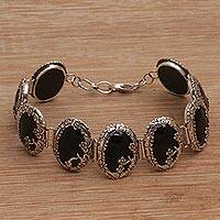 Onyx link bracelet, 'Dreamy Forest' (Indonesia)