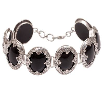 Link Bracelet with Sterling Silver and Black Onyx