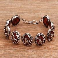 Carnelian link bracelet, 'Cockatoo Garden' - Carnelian and Silver Bird Themed Link Bracelet from Bali