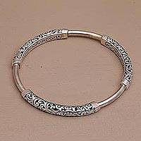Sterling silver bangle bracelet, 'Exquisite Vines' - Bali Artisan Crafted Sterling Silver Bangle Bracelet