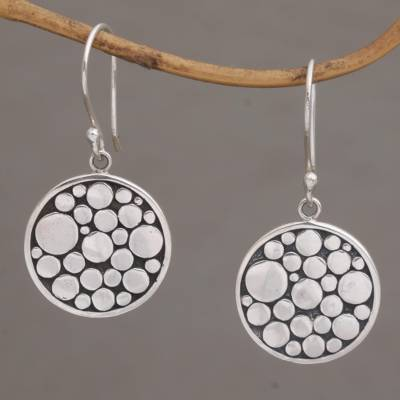 Sterling silver dangle earrings, 'Dots Upon Dots' - Modern Sterling Silver Dangle Earrings with Dot Motifs