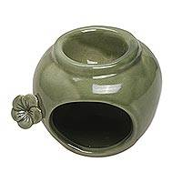 Ceramic oil warmer, 'Frangipani Scent' - Green Ceramic Floral Motif Oil Warmer from Bali