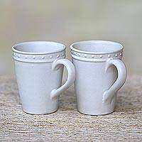 Small ceramic mugs, 'Country Dot' - Dot Motif Small White Ceramic Mugs (Pair)