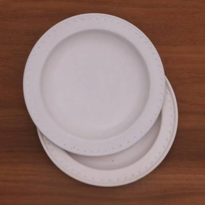 Ceramic salad plates, 'Country Dot' (pair) - White Ceramic Salad Plates with Dot Motif (Pair)