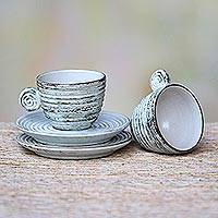 Ceramic demitasse cups and saucers, 'Rustic Table' (pair) - Whitewashed Ceramic Demitasse Cups and Saucers (Pair)