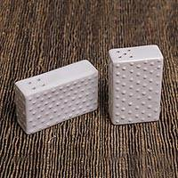 Salt and pepper shakers, 'Kuta Shakers' (pair) - Modern White Ceramic Salt and Pepper Shakers (Pair)