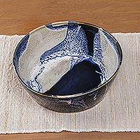 Ceramic serving bowl, 'Ocean Tides' - Decorative and Food Safe Ceramic Bowl from Bali