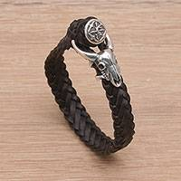Leather wristband bracelet, 'Buffalo Bravery' - Black Leather and Sterling Silver Braided Wristband