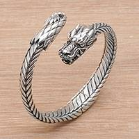 Sterling silver cuff bracelet, 'Dragon Flame' - Sterling Silver Dragon Cuff Bracelet from Indonesia