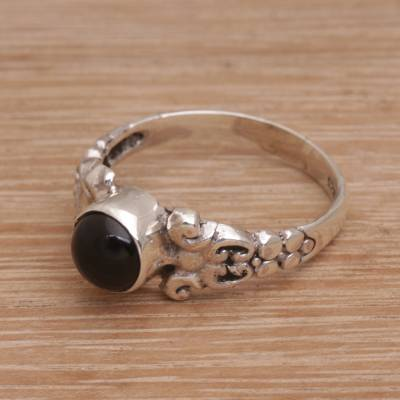 Onyx cocktail ring, 'Be Good' - Handmade Onyx 925 Sterling Silver Cocktail Ring Indonesia