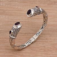 Garnet cuff bracelet, 'Bamboo Rule' (Indonesia)
