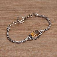 Citrine pendant bracelet, 'Center Stage in Yellow' - Sterling Silver Citrine Pendant Bracelet