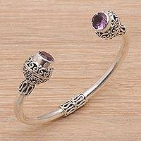 Amethyst cuff bracelet, 'Monument' - Amethyst and Sterling Silver Cuff Bracelet from Bali