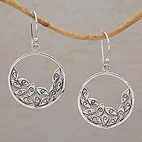 Sterling silver dangle earrings, 'Falling Petals' - Circular Sterling Silver Dangle Earrings from Bali
