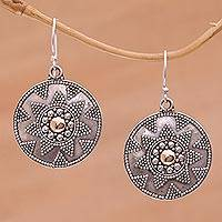 Gold accented sterling silver dangle earrings Guardian Shield (Indonesia)