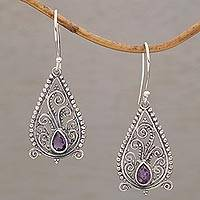 Amethyst dangle earrings, 'Pendulous Pear' - Balinese Motif Sterling Silver Earrings with Amethysts