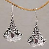 Garnet dangle earrings, 'Blade Falling' - Garnet and Sterling Silver Dangle Earrings from Bali
