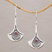 Garnet dangle earrings, 'Blade's Rain' - Garnet and Sterling Silver Dangle Earrings from Bali