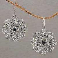 Onyx dangle earrings, 'Jimbaran Sun' - Round Sterling Silver Dangle Earrings with Onyx