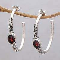 Garnet half-hoop earrings, 'Sacred Sakenan' - Balinese Style Half-Hoop Earrings with Garnet Stones