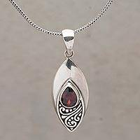 Garnet pendant necklace, 'I'll Be Seeing You' - Garnet and Sterling Silver Eye Shaped Pendant Necklace