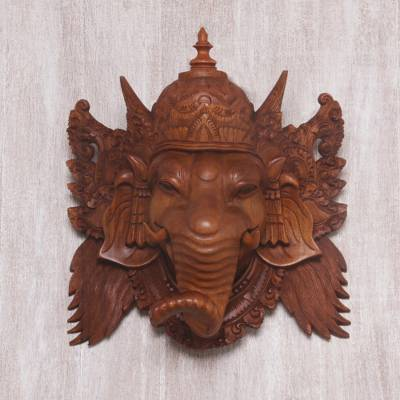 Wood mask, 'Proud Ganesha' - Hand Carved Balinese Suar Wood Mask of Ganesha