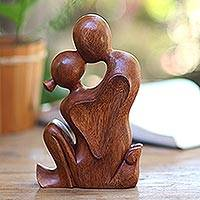 Wood statuette, 'Love's Bond' - Hand Carved Romantic Suar Wood Statuette from Bali