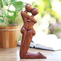 Wood statuette, 'Kneeling Embrace' - Hand Carved Romantic Suar Wood Statuette from Bali
