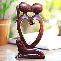 Wood statuette, 'Eternal Bond' - Hand Carved Romantic Suar Wood Statuette from Bali