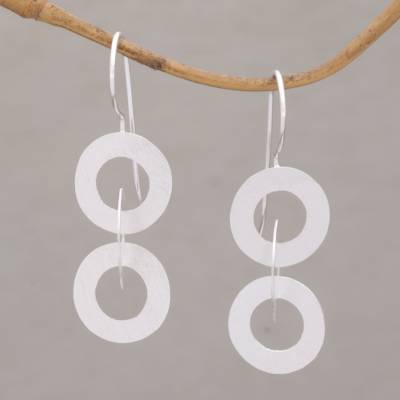 Sterling silver dangle earrings, 'Circular Reference' - Linked Circle Dangle Earrings in Brushed Sterling Silver