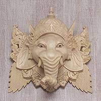 Wood mask, 'Pale Ganesha' - Hand Carved Balinese Crocodile Wood Ganesha Mask
