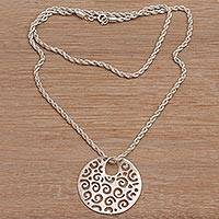 Sterling silver pendant necklace, 'Eddy' - Contemporary Style Sterling Silver Pendant Necklace