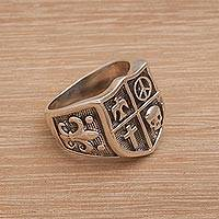 Sterling silver signet ring, 'Solidarity Shield' - Indonesian Sterling Silver Combination Finish Signet Ring