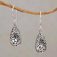 Sterling silver dangle earrings, 'Forest Droplets' (Indonesia)