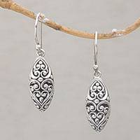 Sterling silver dangle earrings, 'Gleaming Seeds' - Vine Motif Sterling Silver Dangle Earrings from Bali