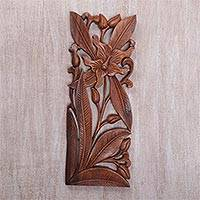 Wood relief panel, 'Orchid Charm' - Hand Carved Balinese Wood Orchid Wall Relief Panel